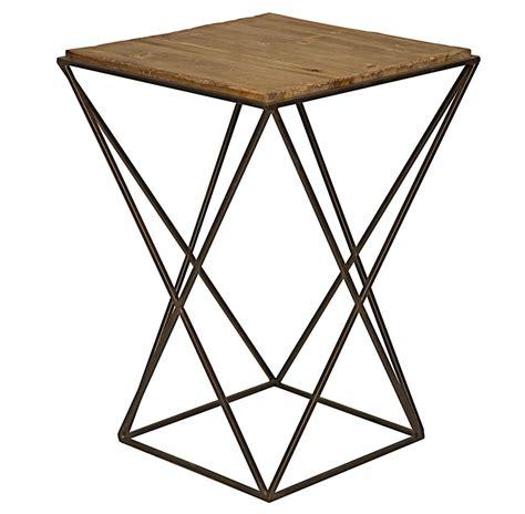 wood and metal end tables maris industrial loft metal reclaimed wood side end table