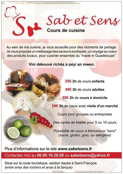cuisine et sens sab et sens cours de cuisine francois cours de cuisine guadeloupe