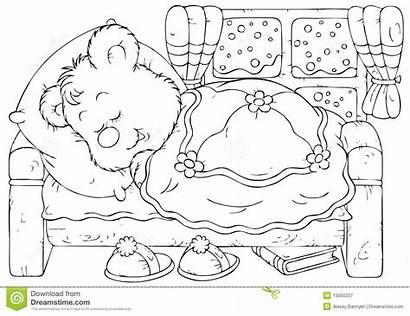 Bear Sleeping Coloring Bed Outline Bedroom Draagt