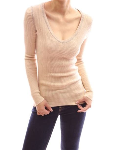 aesthetic official pattyboutik cotton v neck ribbed pullover stretch sweater deep chagne m
