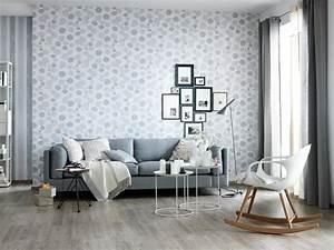 fotostrecke ein wohnzimmer in klassichem grau weiss With balkon teppich mit tapeten schöner wohnen kollektion