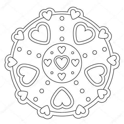 Kleurplaat Hartjes Mandala by Kleurplaat Eenvoudig Hartje Mandala Stockvector