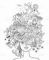 Crazy Hair Portrait Coloring Lifestyle Vector Adult Doodle Concept Psychedelic Illustration Young Poster Pages Clip Istockphoto Illustrations Hobbies Wishes Dreams sketch template