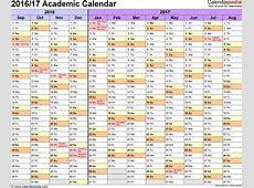 Academic calendars 20162017 as free printable Word templates