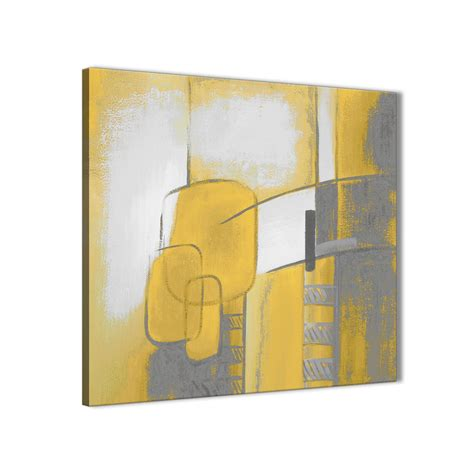 mustard yellow grey painting abstract bedroom canvas wall decor 1s419l 79cm square print