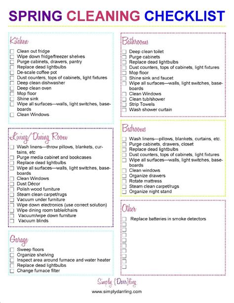 spring cleaning checklist simply darrling