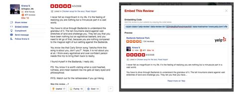 Embedded Reviews At Yelp