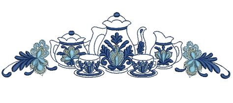 beautiful blue kitchen embroidery design