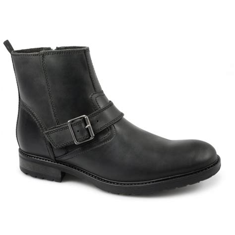 mens buckle biker boots ikon chuck mens leather buckle zip biker boots black buy