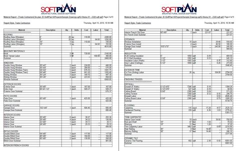softplan samples softlist material reports softplan
