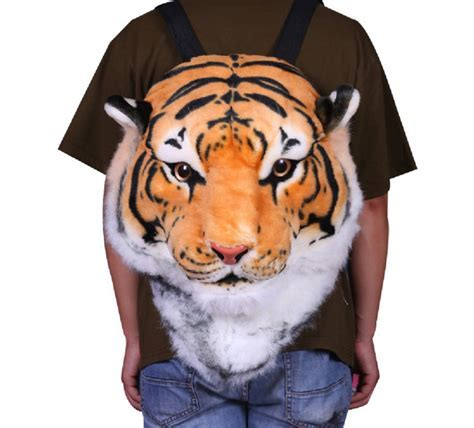 3D Tiger Head Plush Backpack   The Green Head