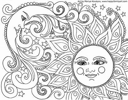 Coloring Pages Moon Sun Adult Printable Adults