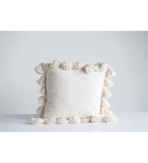 Cream Cotton Woven Slub Pillow with Tassels - 2 Styles ...