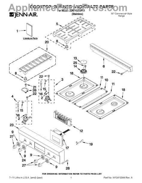 jenn air cooktop parts parts for jenn air jdrp430wp01 cooktop burner and grate