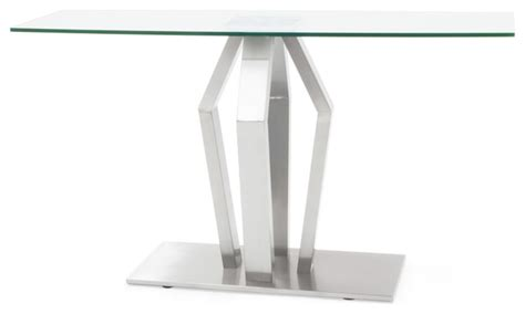 contemporary stainless steel table ls tempered glass and brushed stainless steel aiden console
