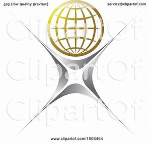 Clipart Of A Silver Person With A Golden Wire Globe Head