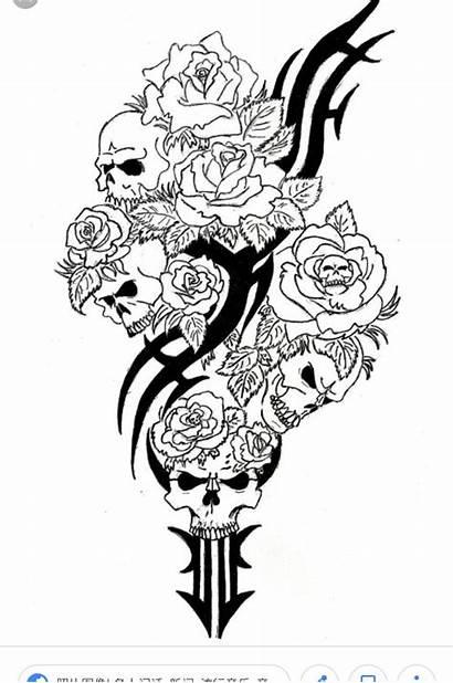 Skull Coloring Tattoo Roses Adults Rose Skulls