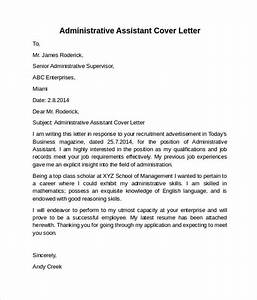 administrative assistant cover letter 9 free samples With cover letter samples for receptionist administrative assistant