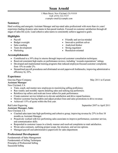 Assistant Manager Resume by Assistant Sales Manager Resume Exles Free To Try