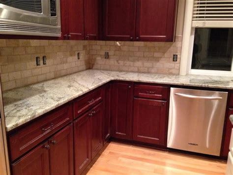 kitchen backsplash ideas with cherry cabinets backsplash help for typhoon green granite 9057
