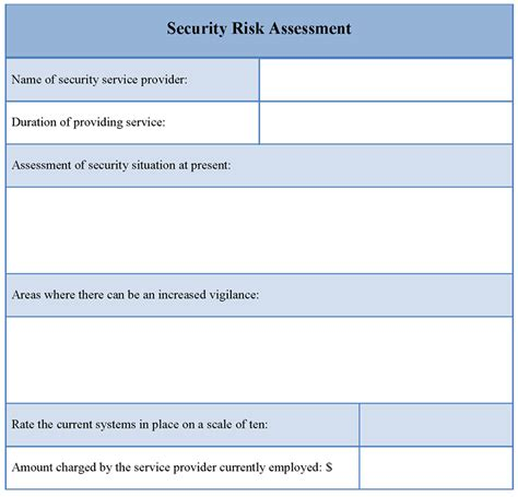 Risk Assessment Template Assessment Template For Security Risk Exle Of Security