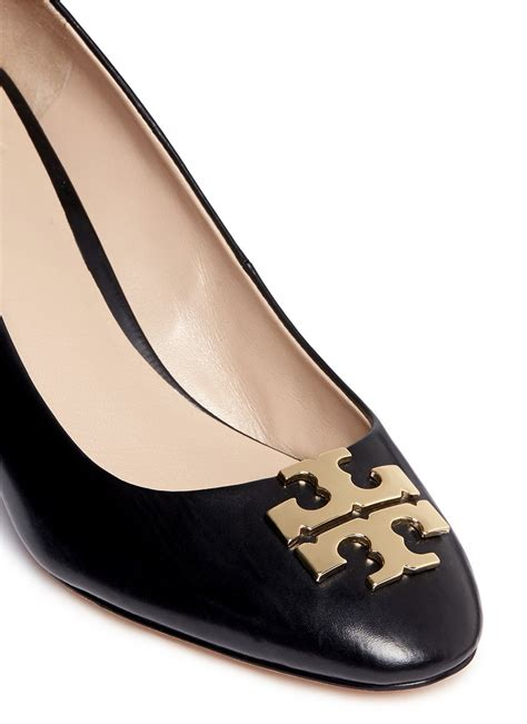 tory burch raleigh metal logo leather wedge pumps