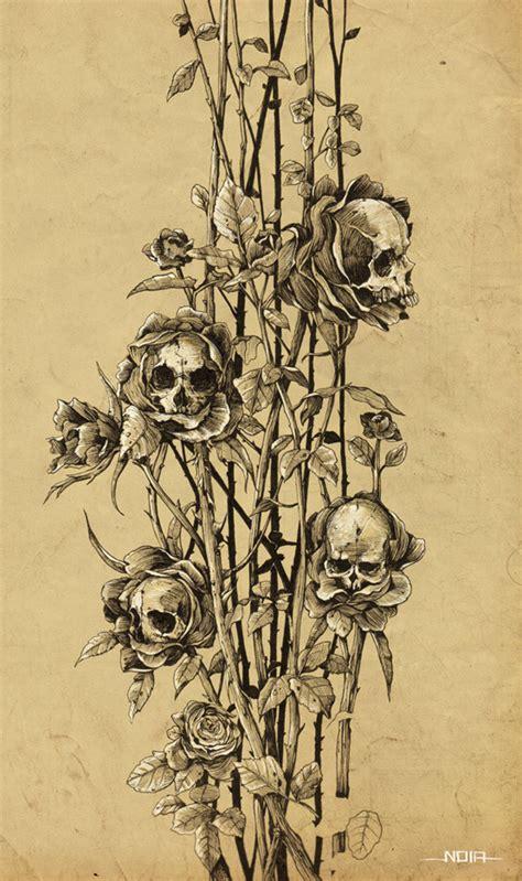 drawing illustration skull nature ink sketch plants
