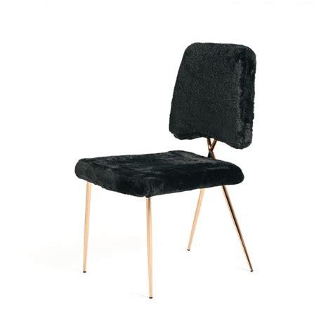 modern black faux fur dining chair set of 2