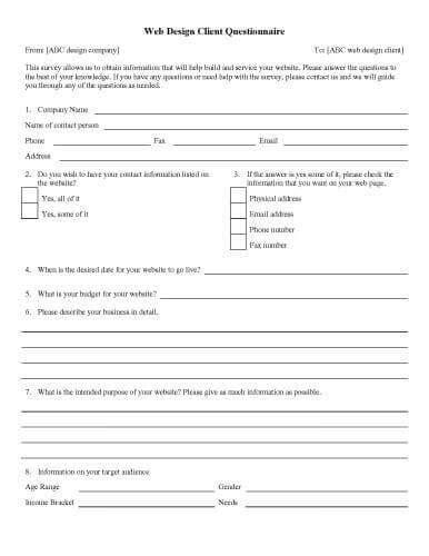 questionnaire templates  designs  microsoft word