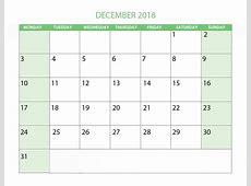 Free December 2018 Calendar in Printable Format Templates