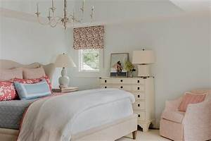 Restful, Bedroom, Features, A, Light, Taupe, Wingback, Bed, Dressed, In, A, Pink, Border, White, Duvet, Layered