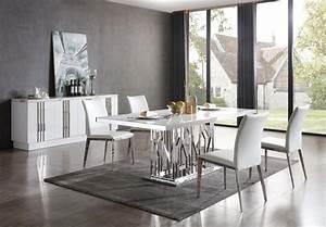 Modrest Marston Modern White Marble  U0026 Stainless Steel