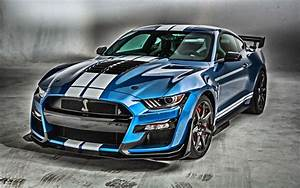 Download wallpapers 2020, Mustang Shelby GT500, blue sports coupe, tuning Mustang, sports car ...