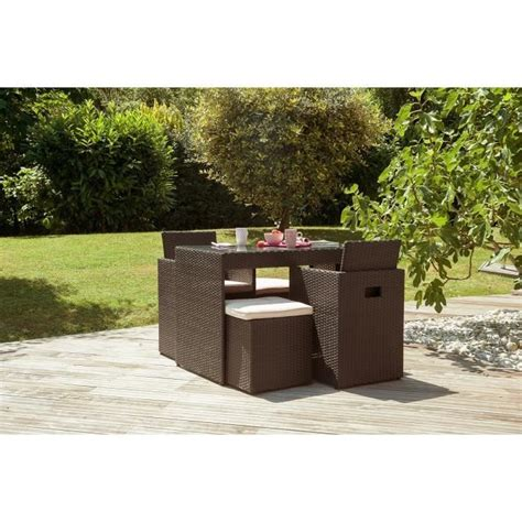 ensemble de jardin encastrable 4 places en r 233 sine tress 233 e chocolat achat vente salon de