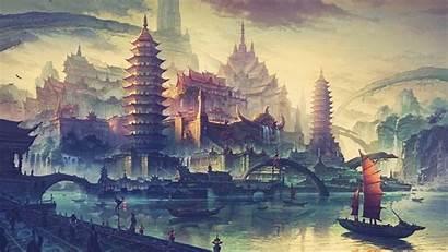 Fantasy Drawing Asian Water Boat Ship Desktop