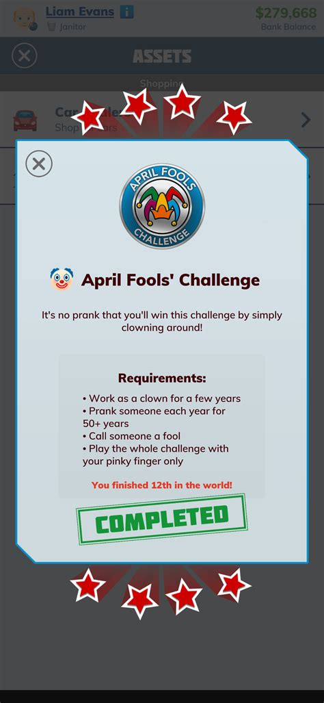 fools april 12th finished challenge place bitlife comments