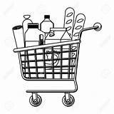 Shopping Cart Supermarket Drawing Drinks Getdrawings sketch template