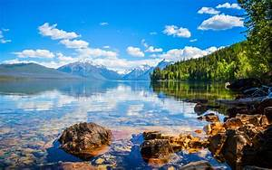 Lake, At, Glacier, National, Park, Montana, United, States, Of, America, Ultra, Hd, Wallpapers, For, Desktop