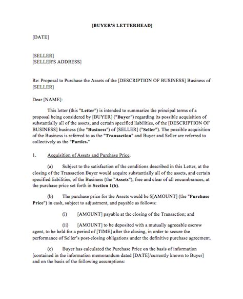 letter  intent  business top form templates