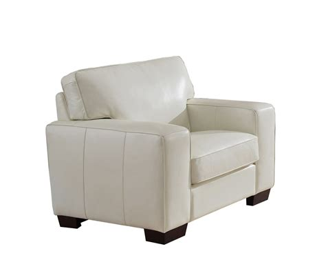 kimberlly top grain ivory white leather chair