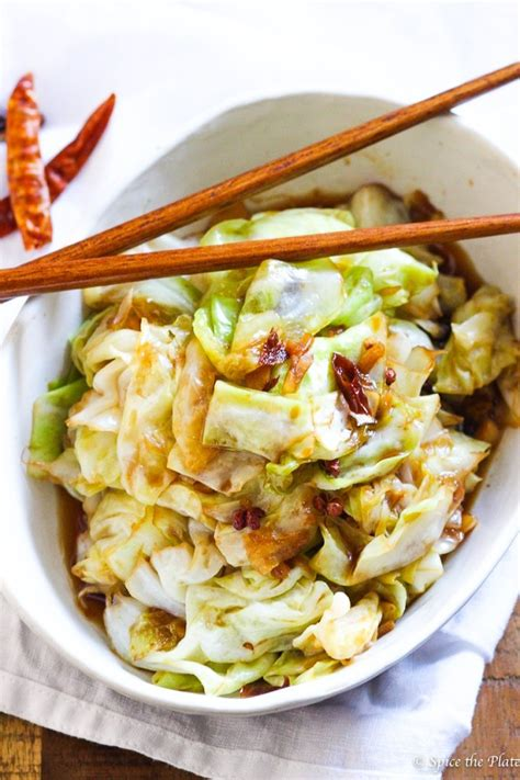 spicy szechuan cabbage stir fry spice  plate