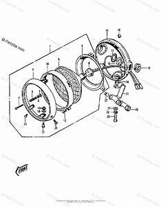 Kawasaki Motorcycle 1973 Oem Parts Diagram For Headlight