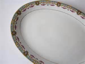 personalized serving platter vintage china czechoslovakia blue pink by jenscloset
