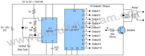 Multi Stage Ajustable Long Duration Timer Circuit Diagram