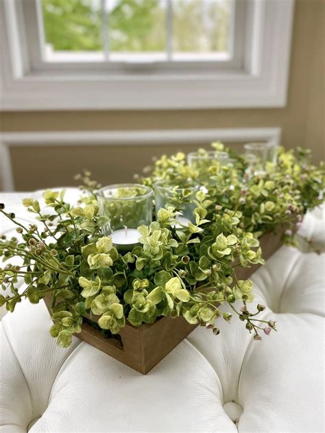 farmhouse candle tray centerpiece  greenery dining