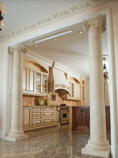 ionic marble columns  kitchen traditional kitchen