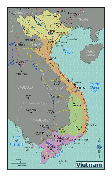 large regions map  vietnam vietnam asia mapsland