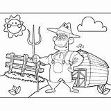 Farmer Pitchfork Coloring sketch template