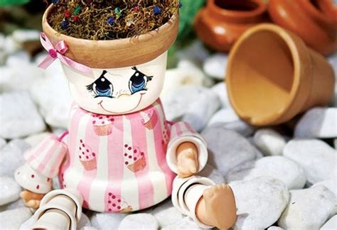 diy garden decoration ideas dolls   clay flower pots