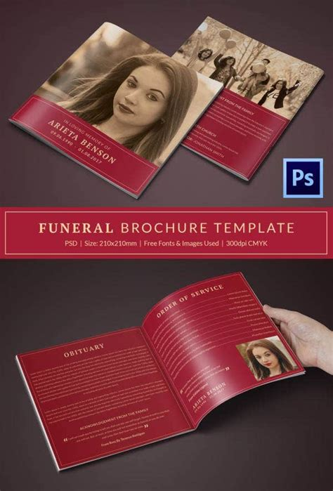 funeral program template   word  psd format